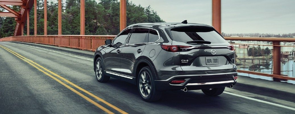 Exterior view of the rear of a Machine Gray 2020 Mazda CX-9