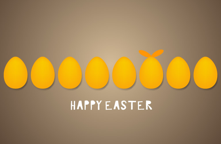 Happy Easter banner with a row of gold Easter eggs