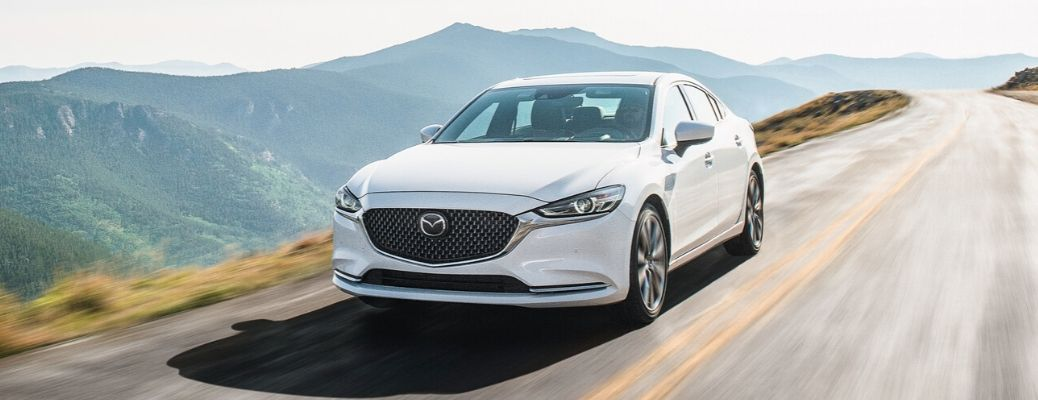Exterior view of a white 2020 Mazda6