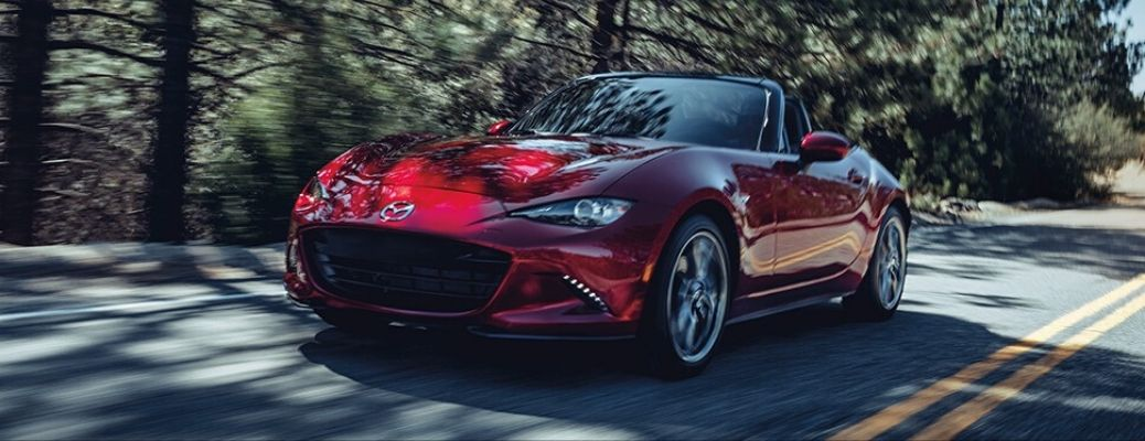Exterior view of a red 2020 Mazda MX-5 Miata