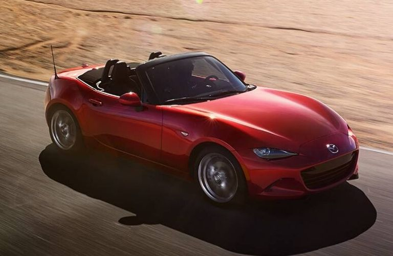 Exterior view of the front of a red 2020 Mazda MX-5 Miata