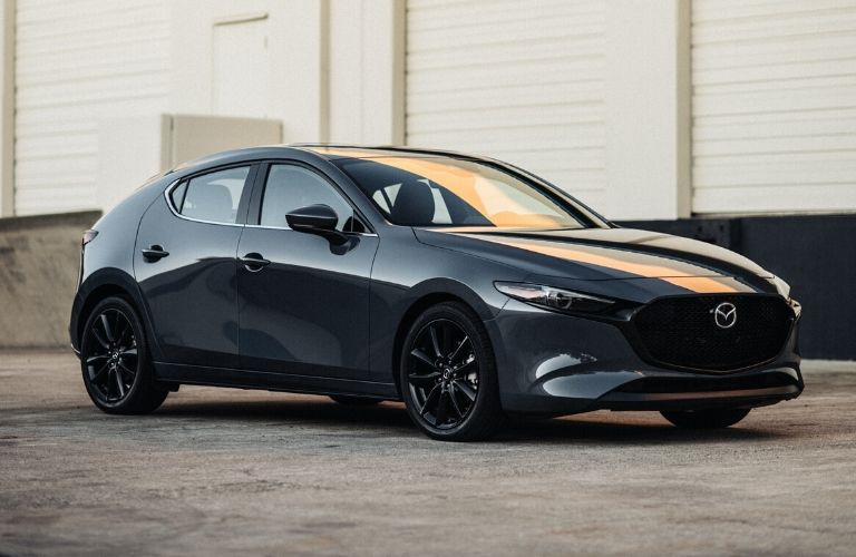 Exterior view of a gray 2020 Mazda3 Hatchback