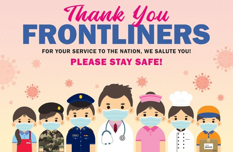 Graphic thanking frontline workers for their service during the COVID-19 crisis