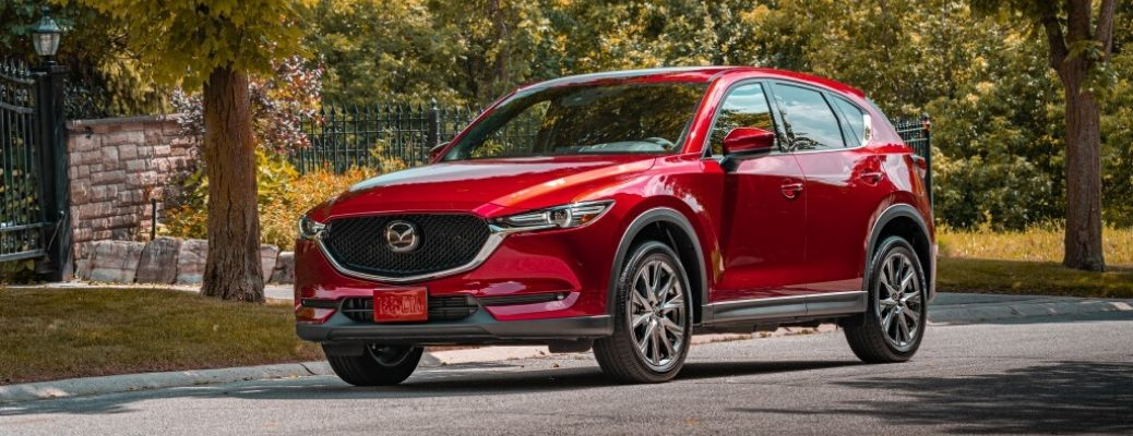 Exterior view of a red 2020 Mazda CX-5
