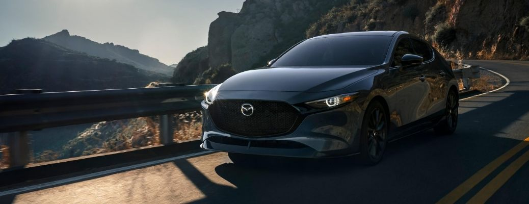 Exterior view of a gray 2021 Mazda3 Turbo model