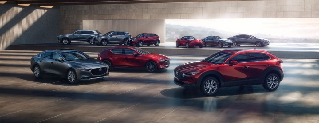 Exterior view of the current Mazda vehicle lineup