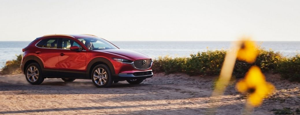 Exterior view of a red 2021 Mazda CX-30