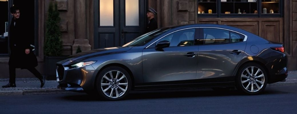 Exterior view of a gray 2021 Mazda3 Sedan