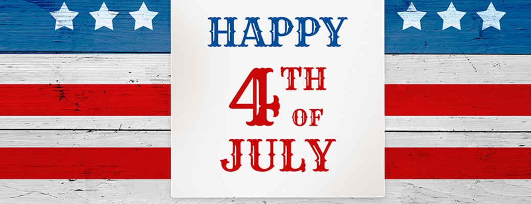 Happy Fourth of July written on a red, white, and blue background