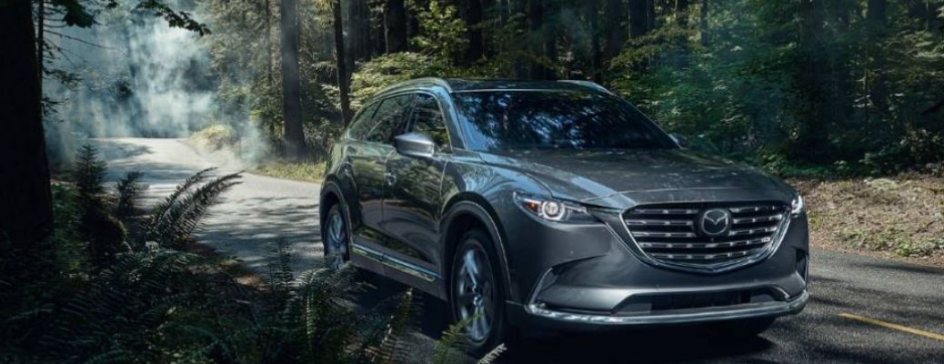grey Mazda CX-9 in a forest area. Safety Features of the 2021 Mazda CX-9