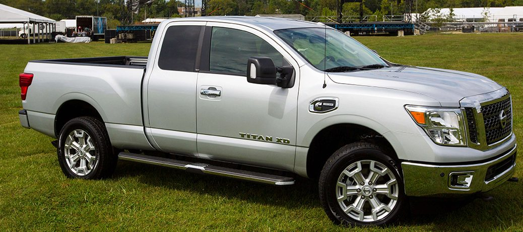 Side view of silver 2019 Nissan Titan XD