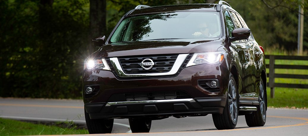 Front view of dark purple 2019 Nissan Pathfinder