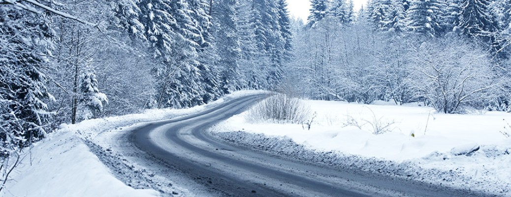 Snow covered curved road with trees