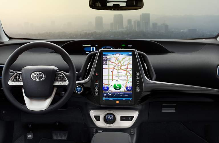 Steering wheel and touchscreen in the 2018 Toyota Prius