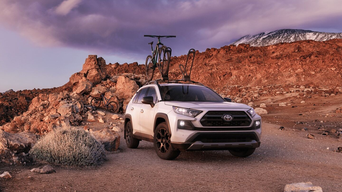White 2020 Toyota RAV4 TRD Off-Road on a Trail