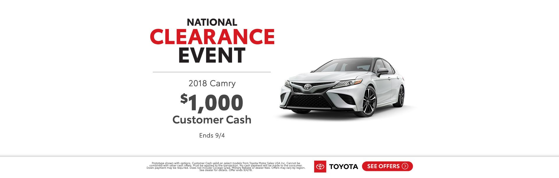 Camry Cashback National Clearance Event 2018