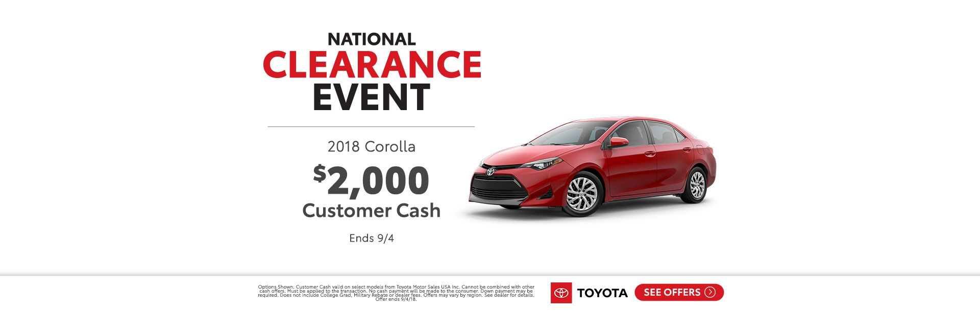 Corolla Cash Back National Clearance Event