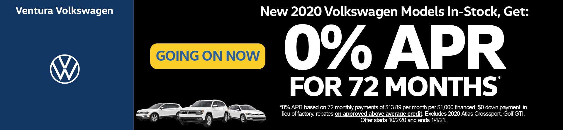 Select New2020 models 0% APR for 72 months