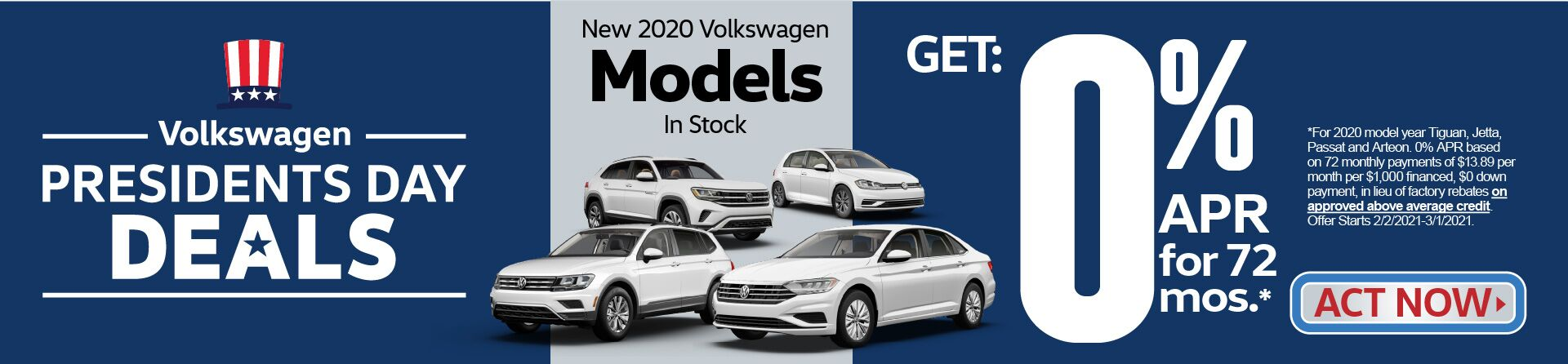 New 2020 VW Models in stock get 0% APR for 72 months | Act Now