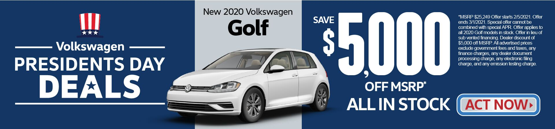 New 2020 VW Golf Save $5,000 off MSRP | Act Now