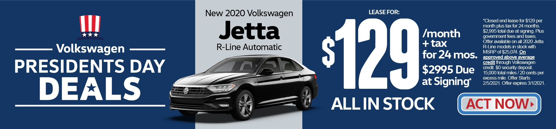 New 2020 VW Jetta R-Line Automatic | Lease for $129 a month for 24 months | Act Now