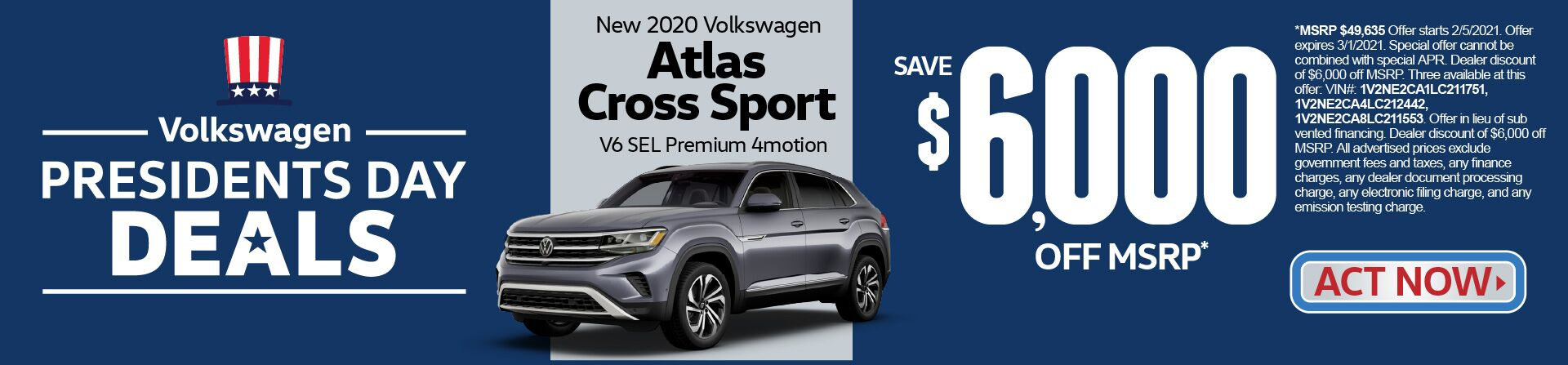 New 2020 VW Atlas Cross Sport save $6,000 off msrp | Act Now