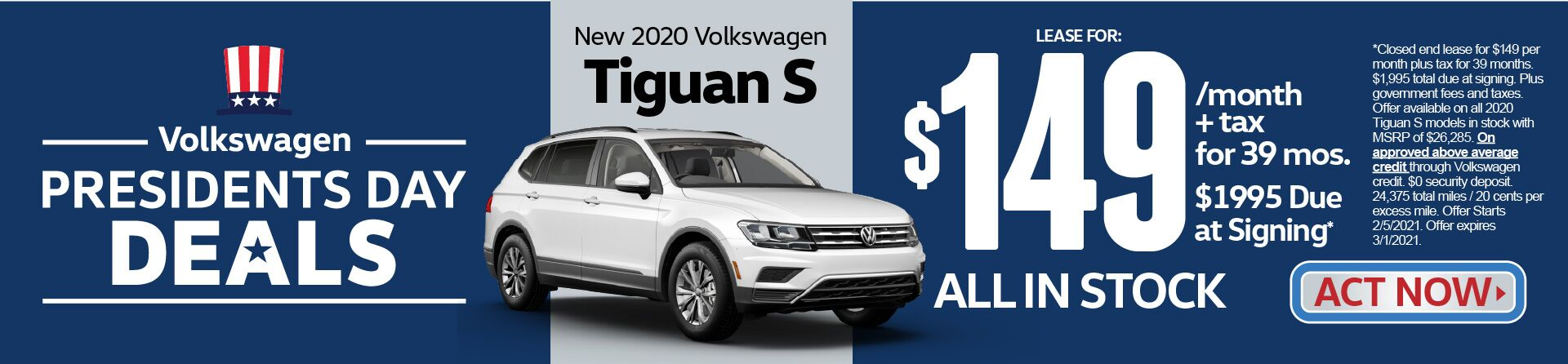 New 2020 VW Tiguan S Lease for $149 a month for 39 months | Act Now