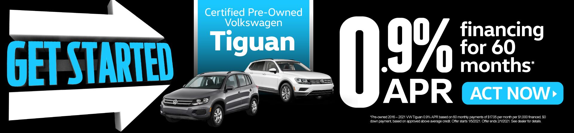 Certified Pre-Owned Volkswagen Tiguan - 0.9% APR financing for 60 months