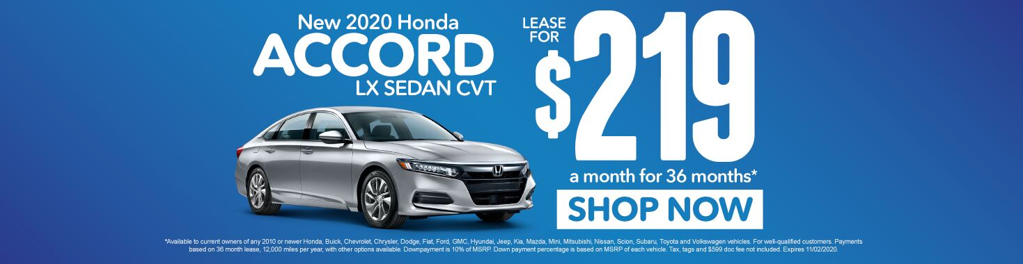 New 2020 Honda Accord | Lease for $219 a month | Click to Shop Now