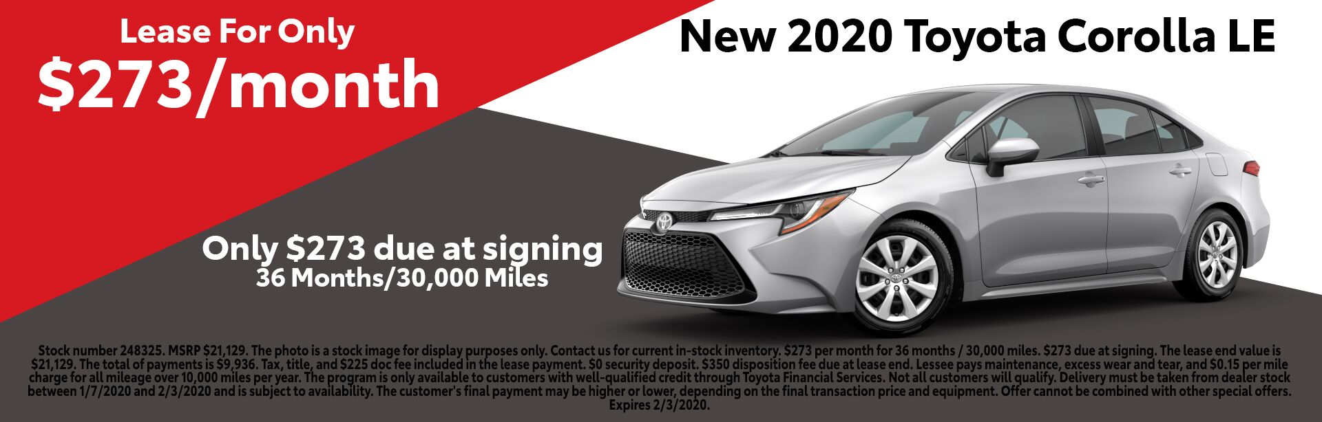January 2020 Corolla Lease Special