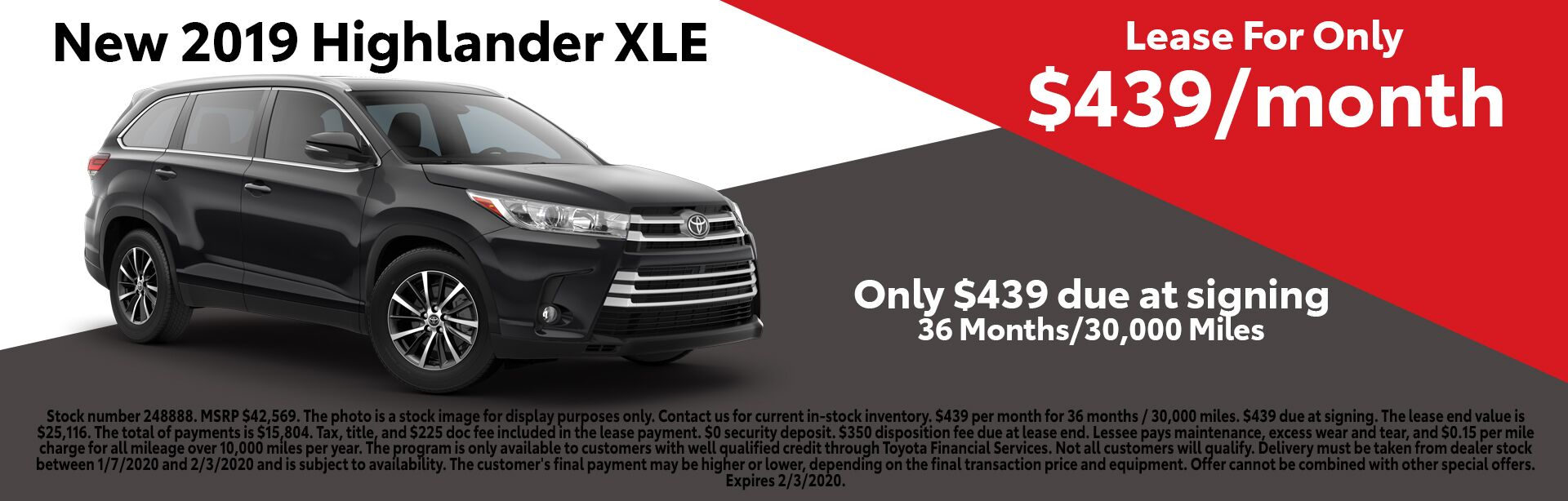 January 2020 Highlander Lease Special