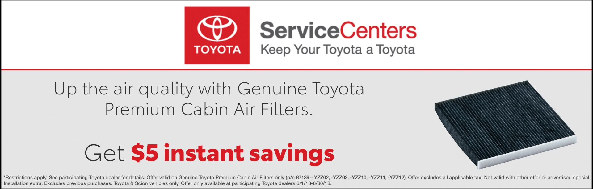 Toyota Service - $5 Savings Air Filter