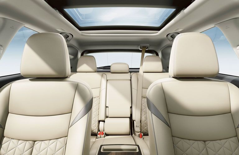 Interior view of the rear seating area inside a 2020 Nissan Murano