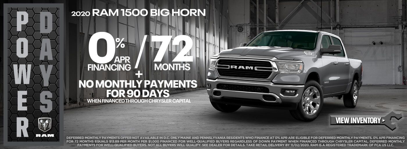 2020 RAM 1500 0% APR for 72 months