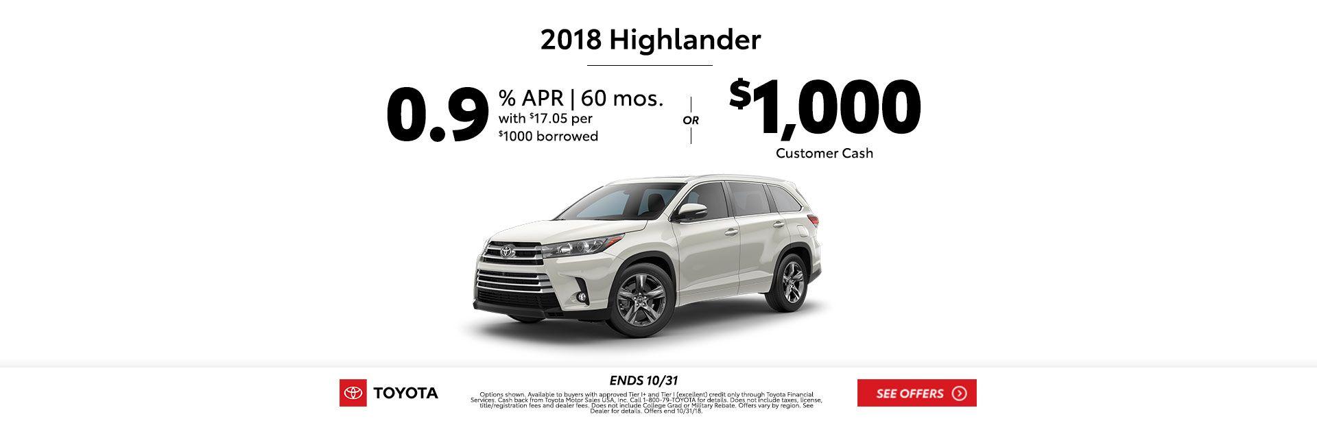 Highlander Customer Cash Oct 2018