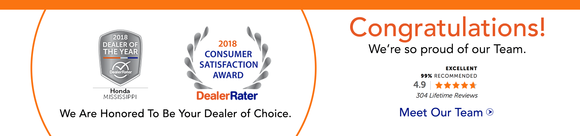 DealerRater Consumer Satisfaction Award 2018
