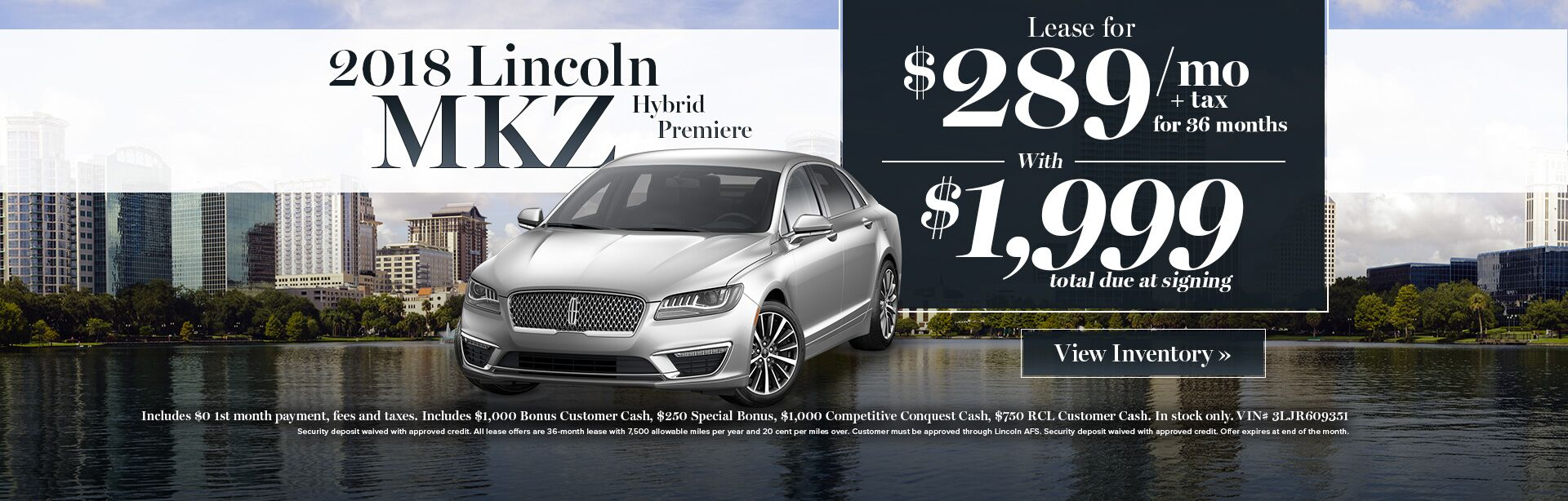 2018 Lincoln MKZ lease special