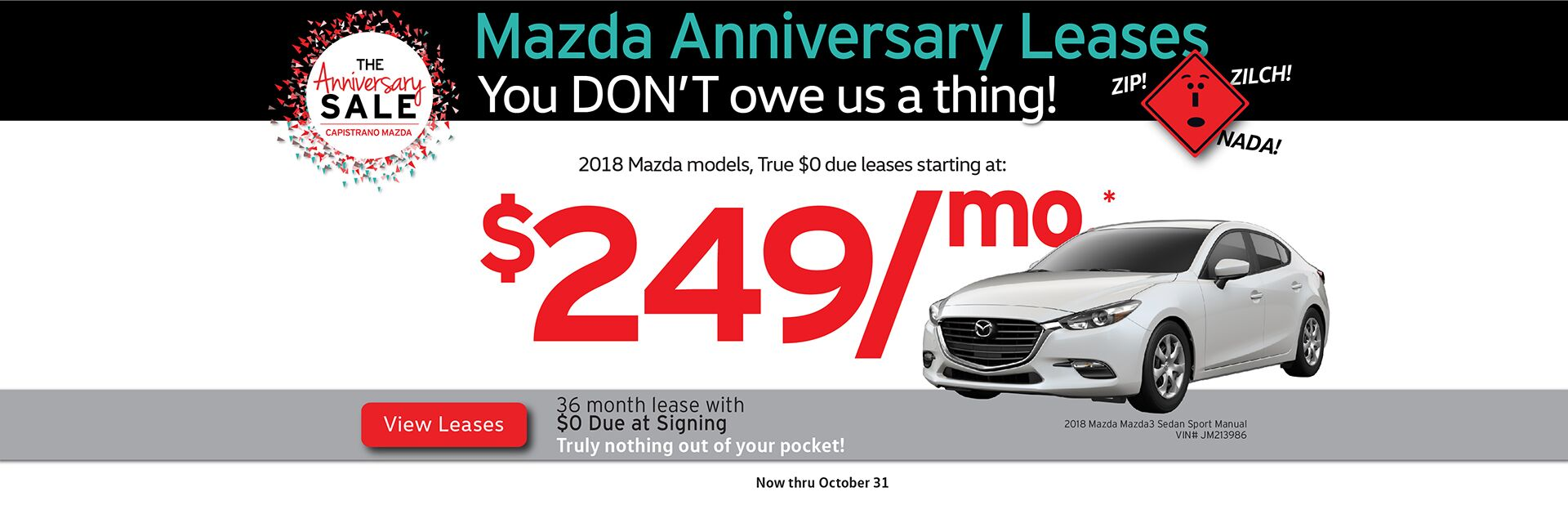 Anniversary Sale Leases with True $0 Due at Signing Lease Option