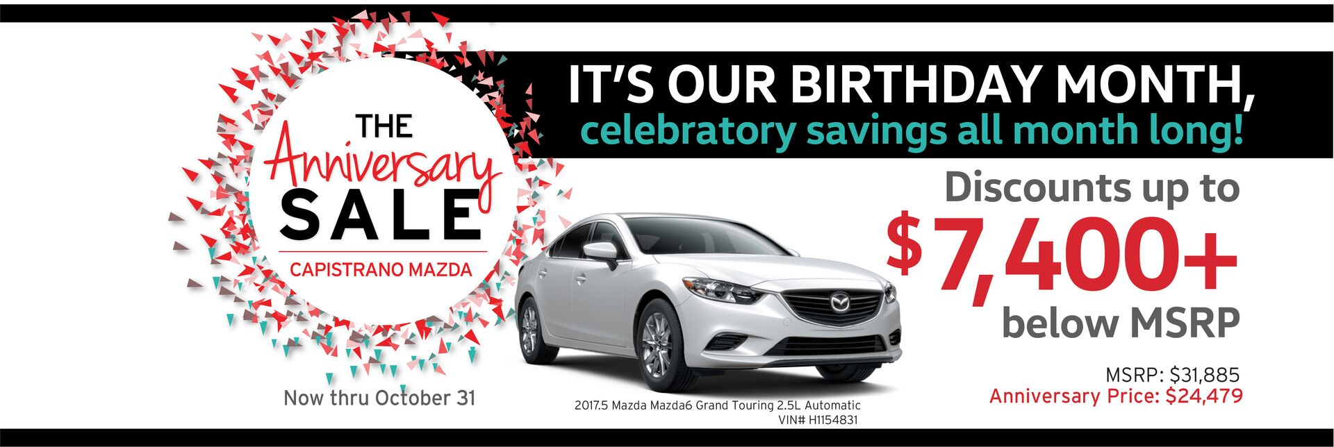 Capistrano Mazda Anniversary Sale with discounts - Save up to $7,400+ below MSRP