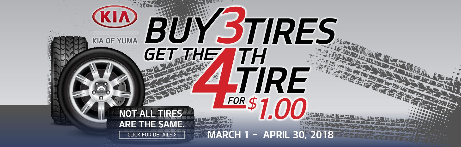 Buy 3 Tires get the 4th Tire for $1.00!