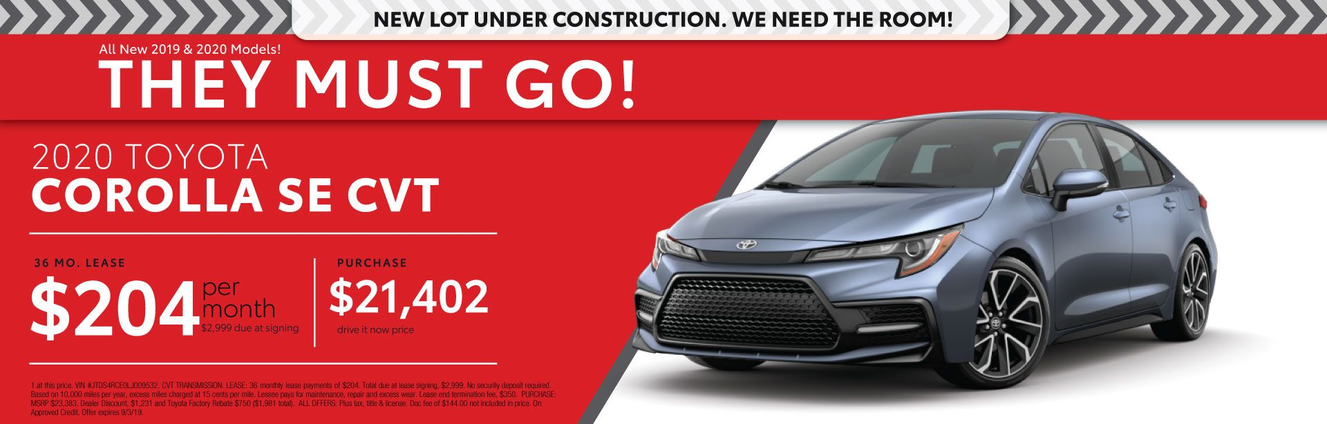 2020 Toyota Corolla SE - Lease for $204 per month for 36 months with $2,999 due signing - Purchase price $21,199