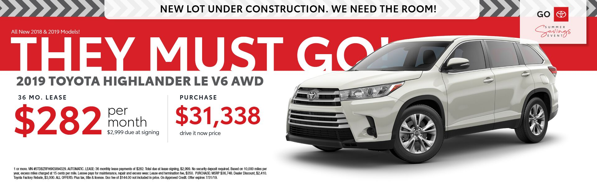 2019 Toyota Highlander LE V6 AWD Lease for 36 months $282 per month with $2,999 down - Purchase for $31,338