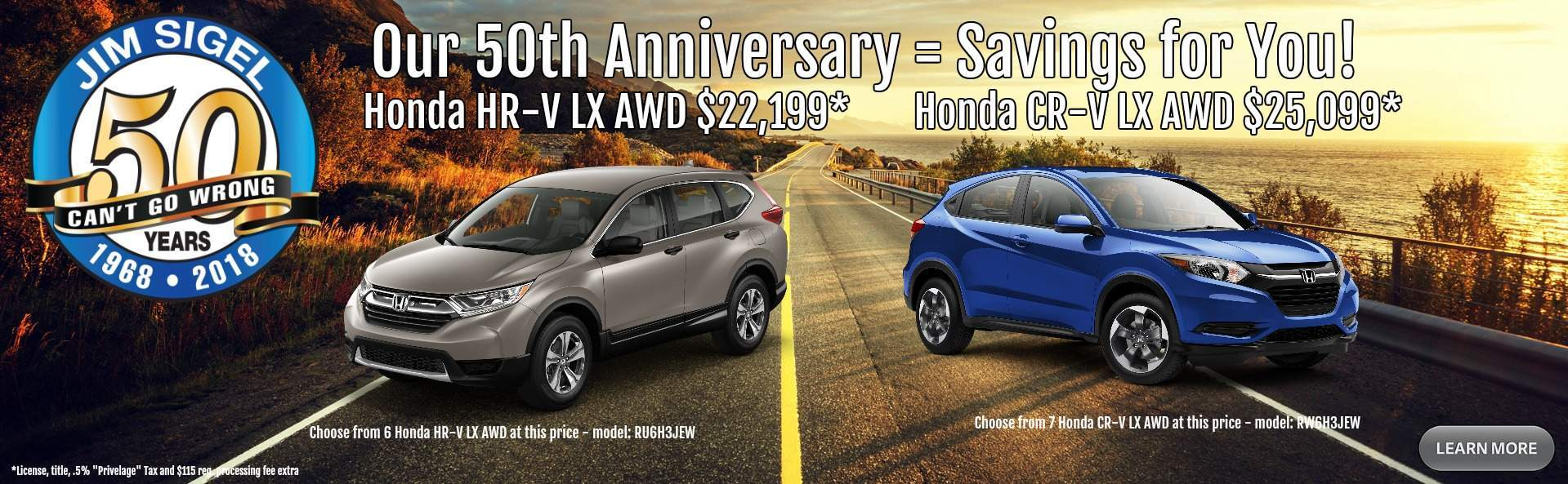 50th Anniversary Honda Specials