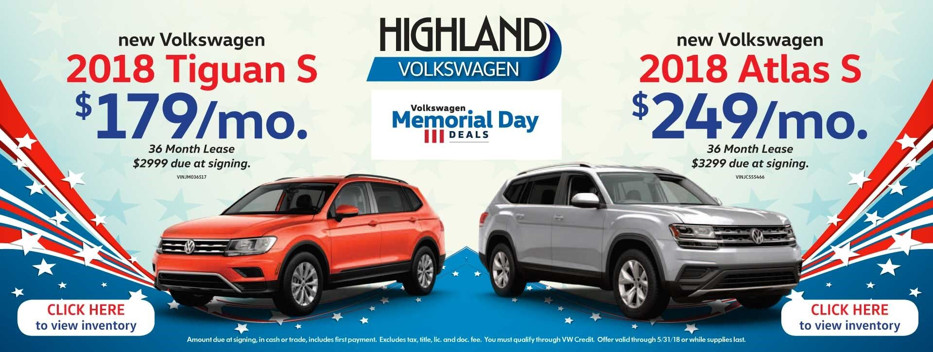 2018 Tiguan & Atlas - Memorial Day
