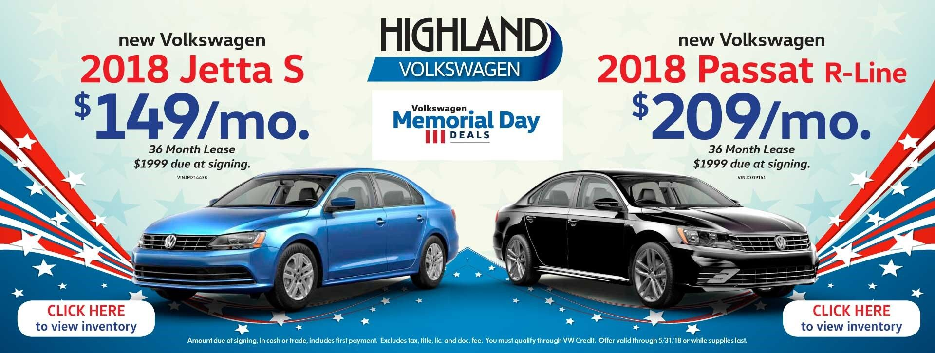 2018 Jetta & Passat - Memorial Day