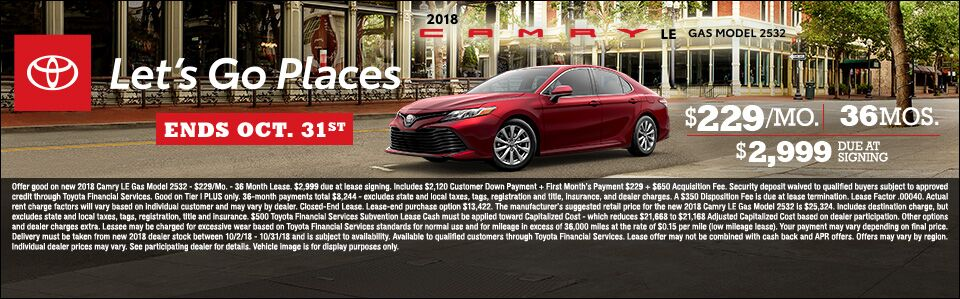 Camry Lease Oct 2018