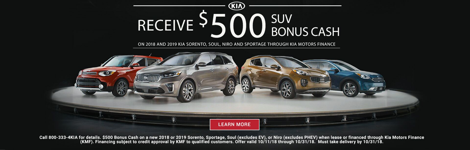 October SUV Bonus Cash 201817. October Sorento Customer Cash