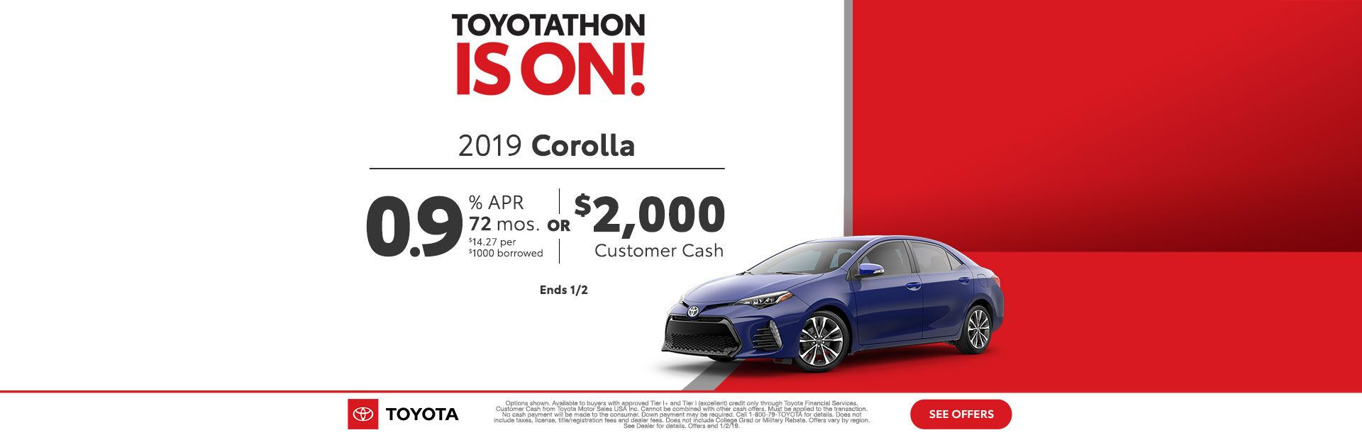 Toyotathon is on Corolla Dec 2018