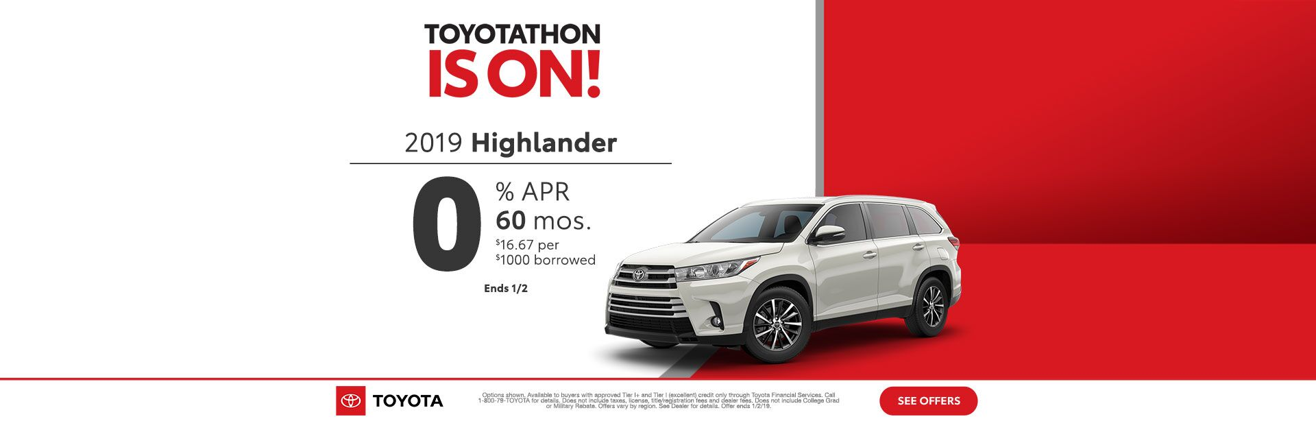 Toyotathon is on Highlander Dec 2018