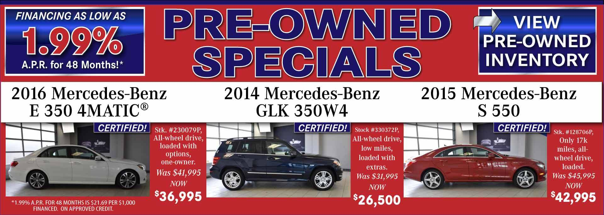 Pre-Owned Specials - July